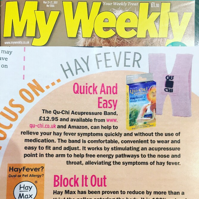 Qu- hi Acupressure Band in woman weekly magazine